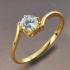 Позлатен нежен дамски пръстен с цирконий и 9К (N105)