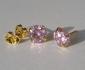 Позлатени обеци 9k с розови камъни цирконий N2341