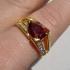 Позлатен пръстен с голям червен камък имитация на гранат N2344